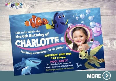 Finding Dory Photo Invitation. Finding Dory theme party. 223