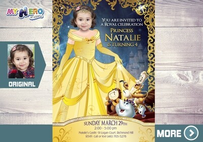 Beauty and the Beast Invitation. Princess Belle Photo Invitation. Princess Belle Party. Princess Belle Birthday. Princess Belle Decor. 255