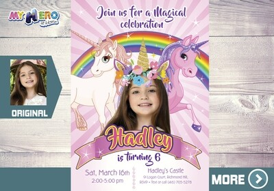 Unicorns Invitation. Unicorn Photo invitation. Unicorn Party Ideas. Unicorns Birthday. Rainbow Party Ideas. Invitación de Unicornios. 285