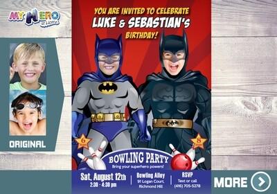 Joint Batman Bowling Invitation. Batman Bowling Party. 199