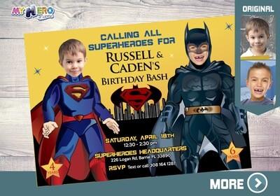 Superman and Batman Invitation. Superheroes Siblings Invitation. Superman and Batman Joint Party. Batman and Superman Birthday. 068