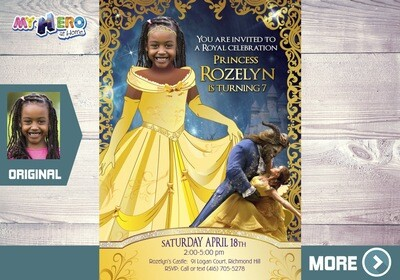 Beauty and the Beast Invitation. Princess Belle Invitation. Beauty and the Beast themed party. Princess Belle Birthday. Belle Party. 252