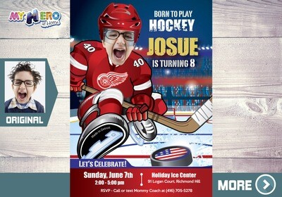 Detroit Red Wings Invitation. Detroit Red Wings Birthday Party. 303