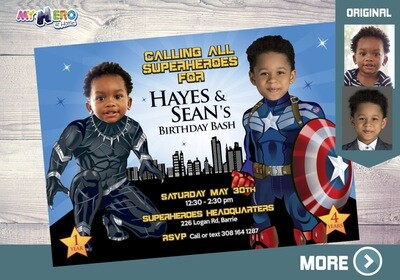 Captain America and Black Panther Invitation. Joint Avengers Party. Black Panther and Captain America Birthday Party Invitation. 163