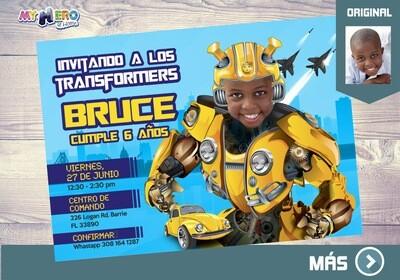 Invitación de Transformers. Fiesta tema Autobots. Cumple Transformers. 293SP