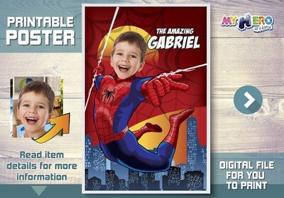 Spiderman Custom Poster. Turn your child into Spiderman to star his Superhero Poster. Spider-man Decoration. Spiderman Backdrop. 367