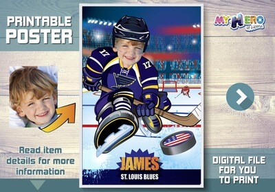 Hockey Custom Poster. Turn your child into his favorite Hockey player for his unique Poster. Hockey Poster. Poster Ice Hockey. 347
