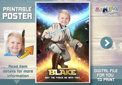Star Wars Custom Poster. Turn your child into a Jedi for his own unique Star Wars Poster. Jedi Custom Poster. Star Wars Poster. 357