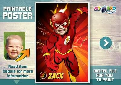 The Flash Custom Poster. Turn your child into The Flash for his own unique Superhero Poster. Superheroes Custom Poster. Flash Poster. 371