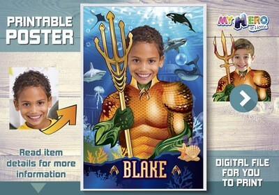 Aquaman Custom Poster. Turn your child into Aquaman for his Underwater Poster. Atlantis Poster. Aquaman Poster. Justice League Poster. 349