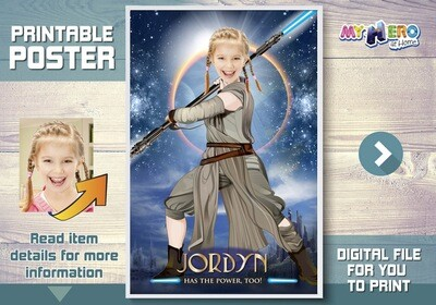 Jedi Rey Custom Poster. Turn your girl into the Jedi Rey for her own unique Star Wars Poster. Star Wars Custom Poster for girls. 360