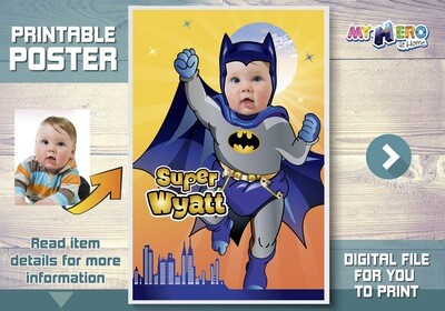 Baby Batman Custom Poster. Turn your little baby into a super cute Batman for his own unique Superhero Poster. Batman Custom Poster. 364