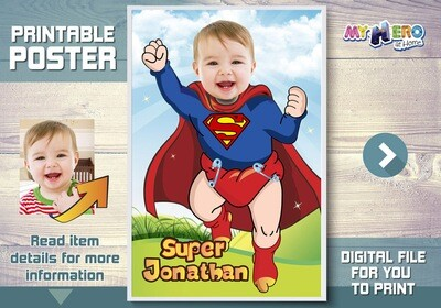 Baby Superman Custom Poster. Turn your little baby into Superman for his own unique Superhero Poster. Baby Superman Custom Poster. 368