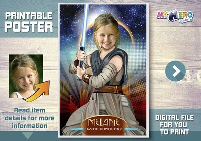 Star Wars for Girls Custom Poster. Turn her into the Jedi Rey for her own unique Star Wars Poster. Star Wars Custom Poster for girls. 361