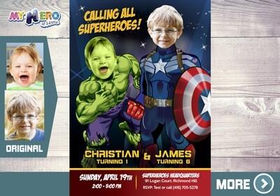 Hulk and Captain America Invitation. Super Siblings Invitation. Joint Avengers Invitation. Joint Avengers Party. Captain and Hulk. 169