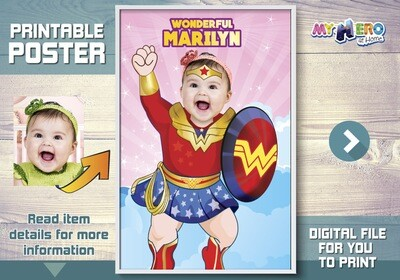 Baby Wonder Woman Custom Poster. Turn your little baby girl into Wonder Woman for her Superhero Poster. One-Der Baby Custom Poster. 427