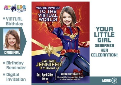 Captain Marvel Virtual Birthday Invitation. Captain Marvel Birthday Reminder. Captain Marvel Custom Poster. Super Hero Girl Quarantine. Girls Quarantine Birthday. 288CV