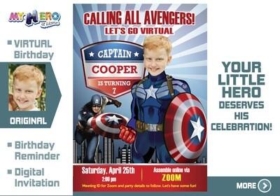 Captain America Virtual Birthday Invitation. Captain America Birthday Reminder. Captain America Virtual Party. Captain America Custom Poster. 075CV