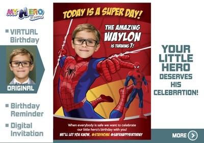 Spider-Man Birthday Reminder. Spider-Man Birthday Announcement. Spider-Man Custom Poster. Quarantine Birthday Ideas. 101CV