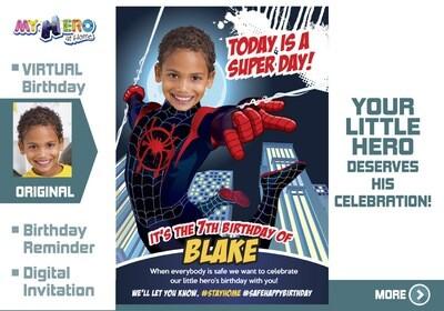 Spider-Verse Birthday Reminder. Spider Verse Birthday Announcement. Spider-Verse Custom Poster. Quarantine Birthday options. 399CV