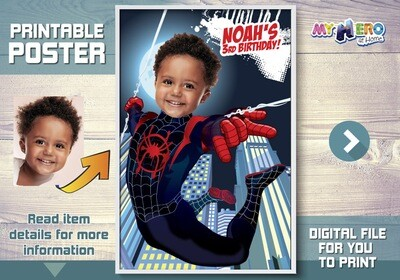 Spider-Verse Custom Poster. Turn your child into Miles Morales to star his Superhero Poster. Spider-Verse Decoration. Spiderverse Backdrop. 428