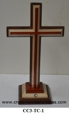 Three Layer Beveled Wooden Table Crosses Two Sided - 8