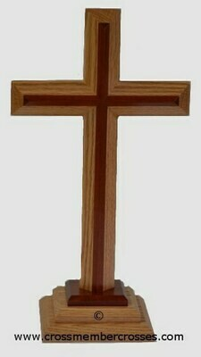 Two Layer Beveled Wooden Table Crosses Two Sided   - 16