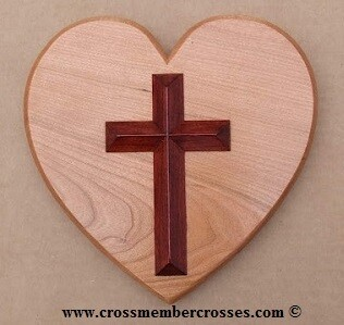 Cherry Heart with Redwood Stained Cross