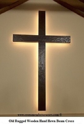 Old Style Hand Hewn Rugged Wooden Cross - Dark Oak - With Back-lighting - 96