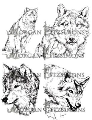 Wolf Set Digi Stamps