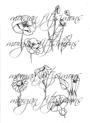 Flower set Digi Stamp 1