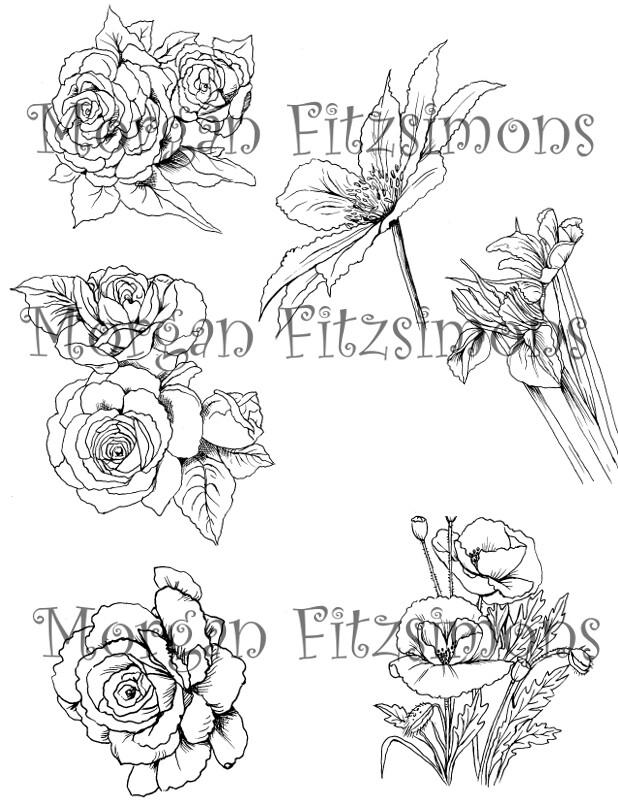 Flower set Digi Stamp 2