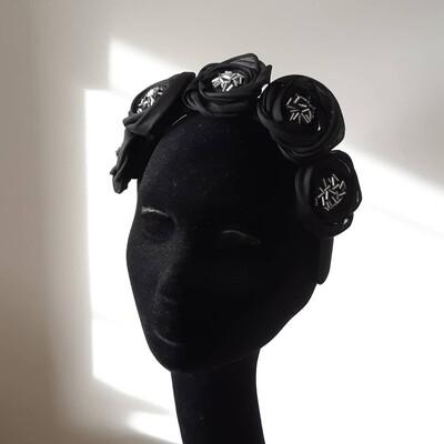 headband with black beaded organdy flowers
