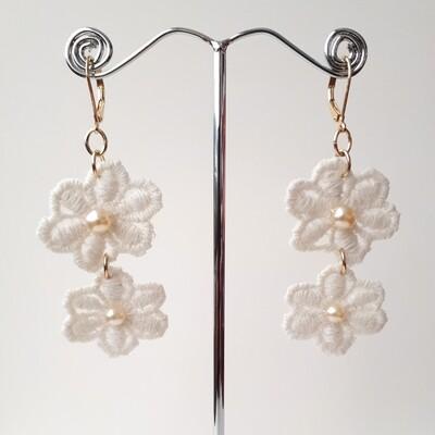 2 Lace flowered Boho earrings