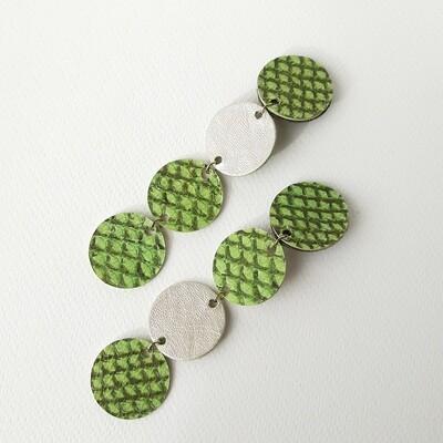 long round asymmetric earrings in salmon fish leather