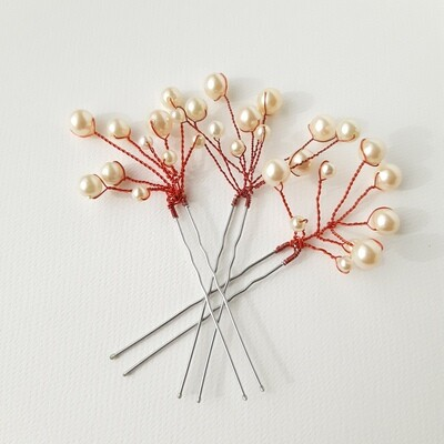 3 contemporary hairpins with red wire and pearls