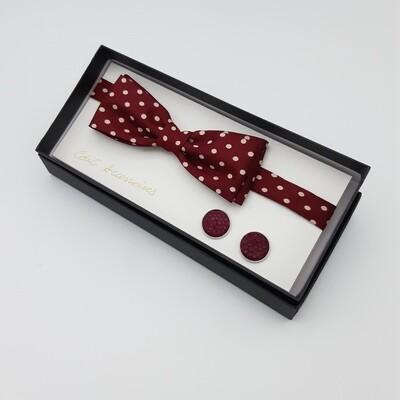 Bowtie -wine red with salmon cufflinks