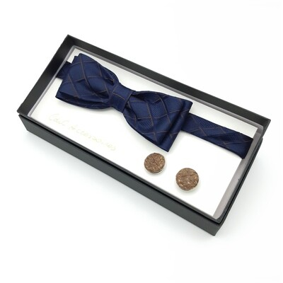 dark blue bowtie with brown lines and brown salmon cufflinks