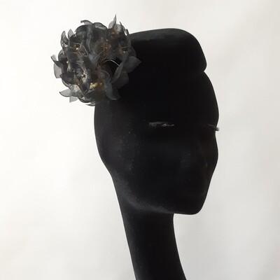 Black velvet furfelt pillbox with organdy hydrangea