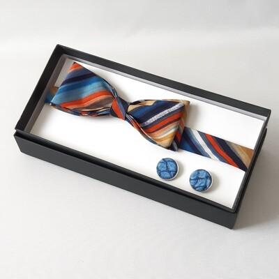 Bowtie - blue tilapia fishleather cufflinks