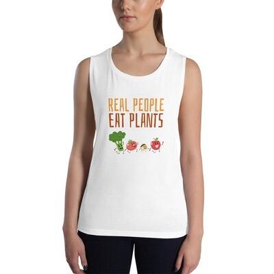 Real People Eat Plants Ladies' Muscle Tank All Veggies
