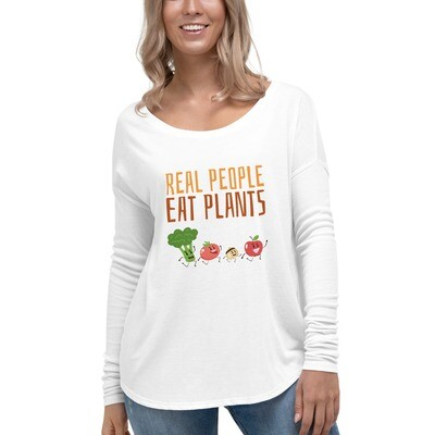 Real People Eat Plants Ladies' Long Sleeve Tee All Veggies