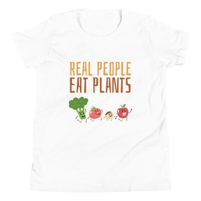 Real People Eat Plants Youth Short Sleeve T-Shirt All Veggies
