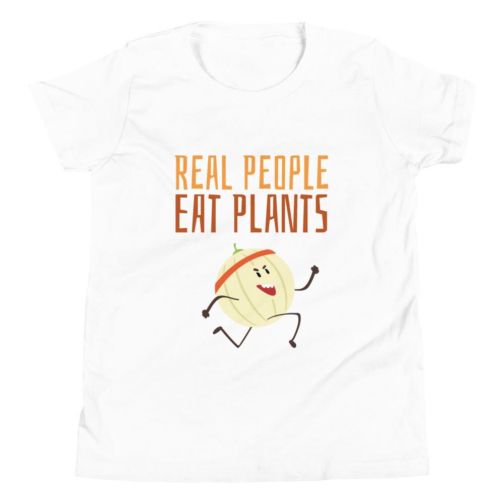 Real People Eat Plants Youth Short Sleeve T-Shirt Cantaloupe