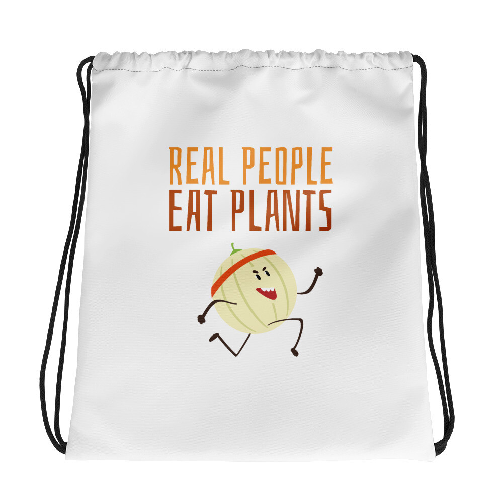Real People Eat Plants Drawstring bag Cantaloupe