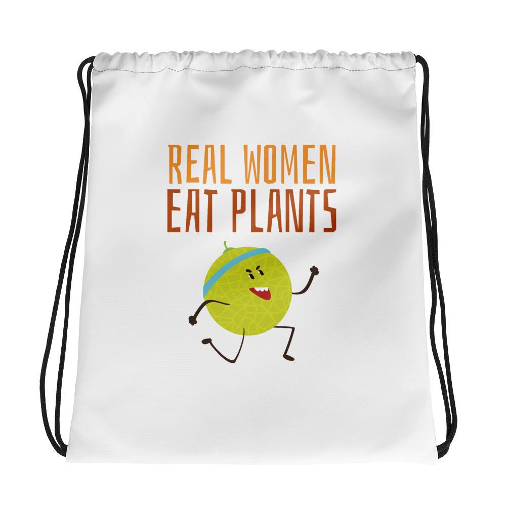 Real Women Eat Plants Drawstring bag Muskmelon