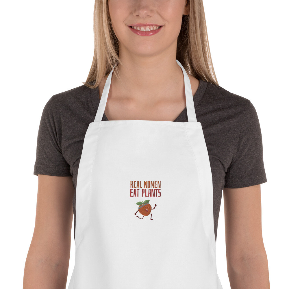 Real Women Eat Plants Embroidered Apron Peach