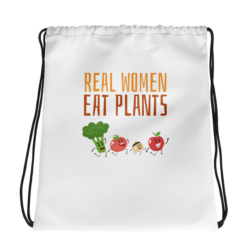 Real Women Eat Plants  Drawstring bag All Veggies