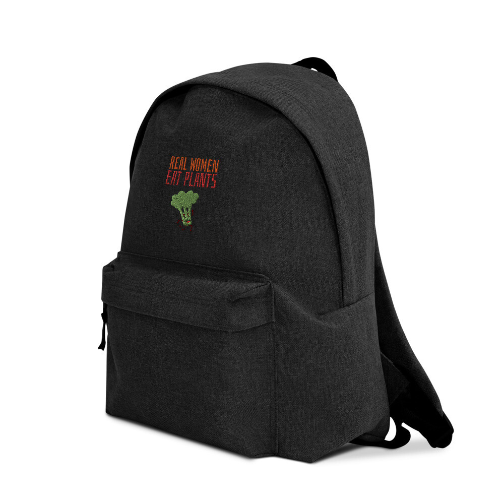 Real Women Eat Plants Embroidered Backpack Broccoli