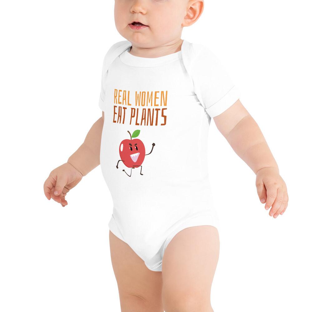 Real Women Eat Plants Baby Bodysuits Apple
